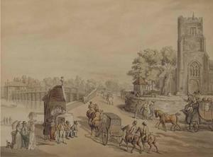 Thomas Rowlandson - Bustling activity before St. Mary-s Church with Putney Bridge beyond