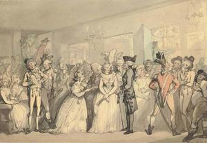 Thomas Rowlandson - Foyer of the Haymarket Theatre during the -Surrender of Calais-