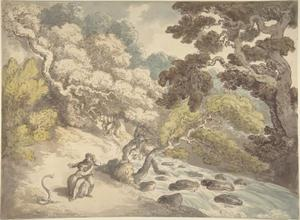 Thomas Rowlandson - Landscape with rushing stream and a couple on the bank, frightened by a snake