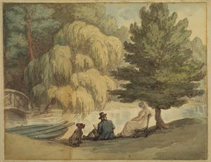 Thomas Rowlandson - Wooded landscape with a seated woman and an artist sketching