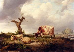 Thomas Sidney Cooper - A Cow With Sheep In A Landscape