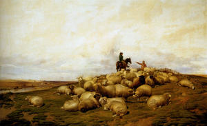 Thomas Sidney Cooper - A Shepherd With His Flock