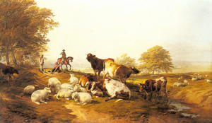 Thomas Sidney Cooper - Cattle and Sheep Resting in an Extensive Landscape
