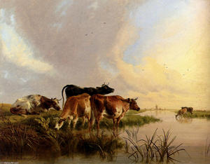 Thomas Sidney Cooper - Cattle Watering