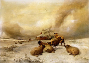 Thomas Sidney Cooper - Sheep In A Winter Landscape