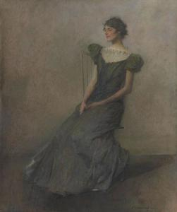 Thomas Wilmer Dewing - Lady in Green and Gray