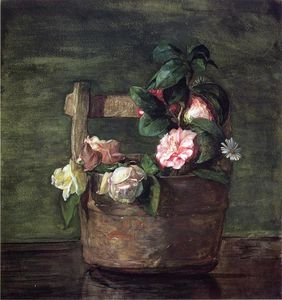 John La Farge - Camellias and Roses in Japanese Vase of Earthenware with Crackle