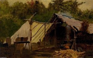 John George Brown - Camp in the Maine Woods, No. 3