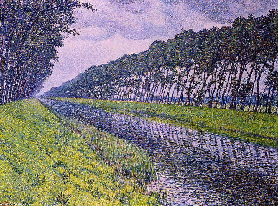 Canal in Flanders, Oil On Canvas by Theo Van Rysselberghe (1862-1926, Belgium)