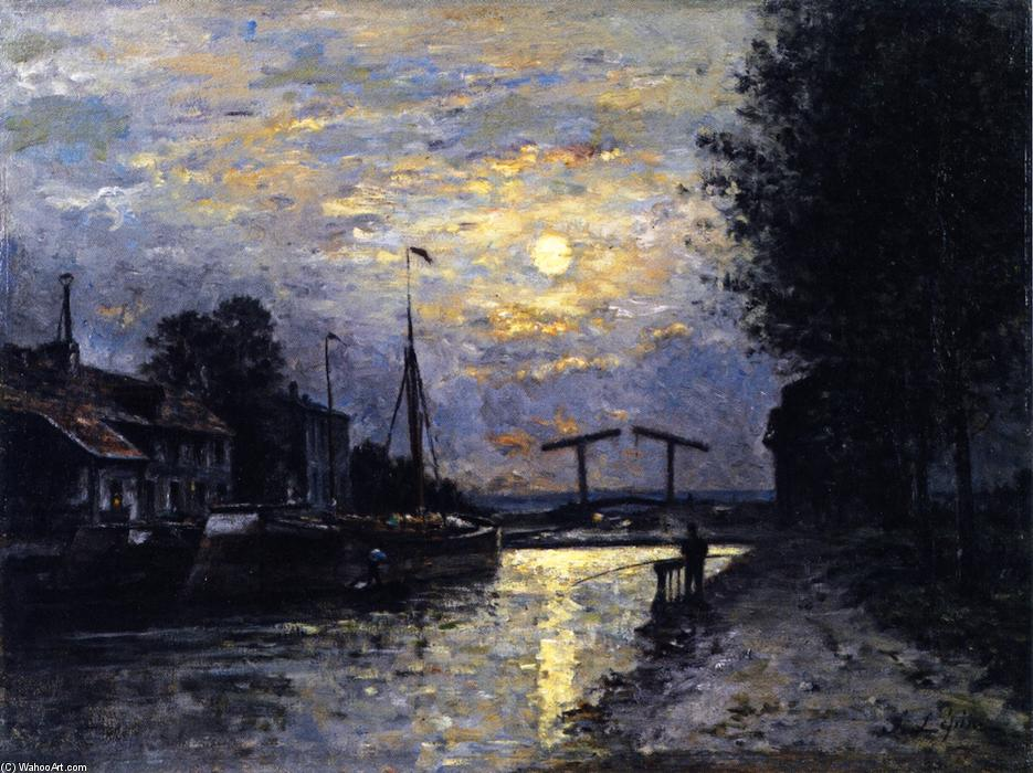 Canal in Saint-Denis, Effect of Moonlight, 1876 by Stanislas Lepine (1835-1892, France) | Art Reproductions Stanislas Lepine | WahooArt.com