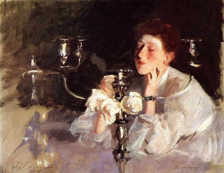 The Candelabrum (also known as Lady with Cancelabra or The Cigarette), 1885 by John Singer Sargent (1856-1925, Italy) | Famous Paintings Reproductions | WahooArt.com