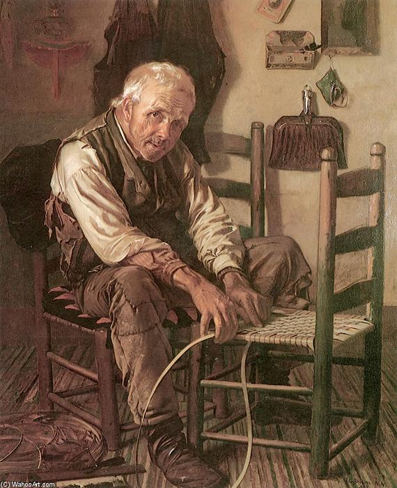 Caning the Chair, Oil On Canvas by John George Brown (1831-1913, United Kingdom)