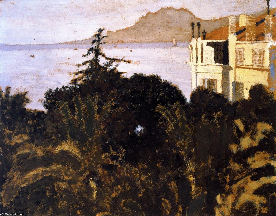 Cannes, Garden on the Mediterranean, Oil On Panel by Jean Edouard Vuillard (1868-1940, France)