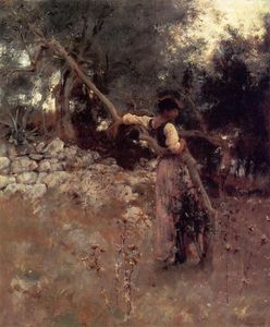 John Singer Sargent - Capri (also known as A Girl of Capri) - (paintings reproductions)