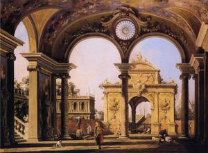 Giovanni Antonio Canal (Canaletto) - Capriccio of a Renaissance Triumphal Arch seen from the Portico of a Palace