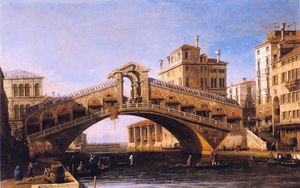 Giovanni Antonio Canal (Canaletto) - Capriccio of the Rialto Bridge with the Lagoon Beyond
