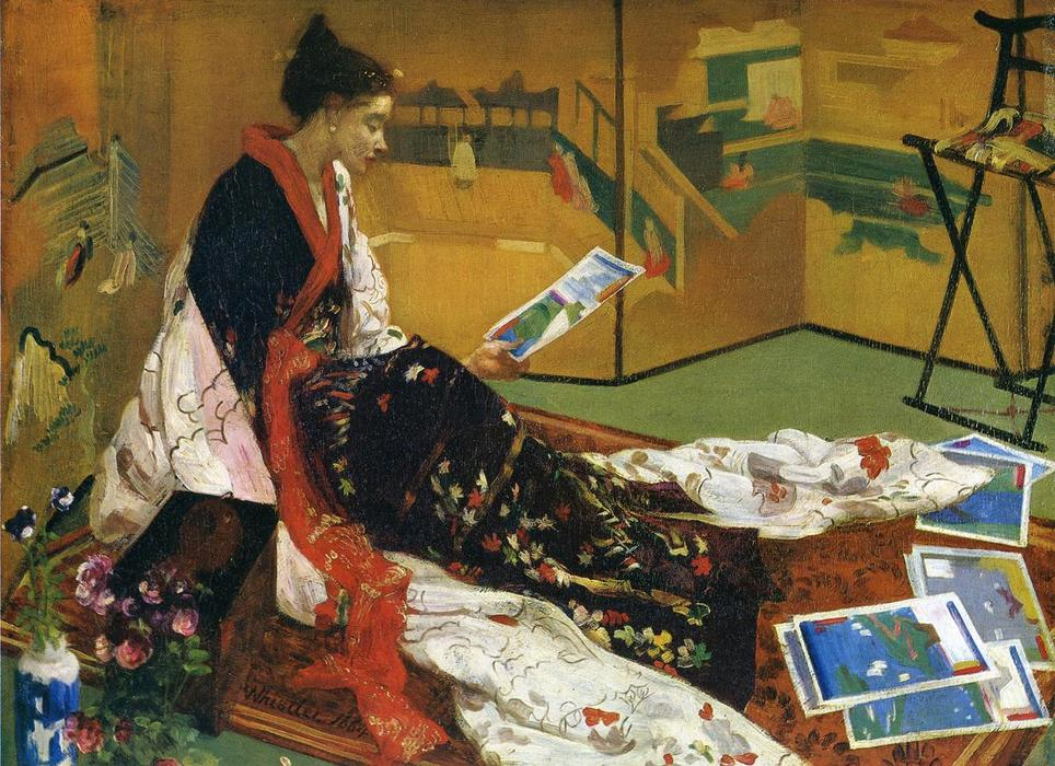 Caprice in Purple and Gold: The Golden Screen, Oil On Panel by James Abbott Mcneill Whistler (1834-1903, United States)