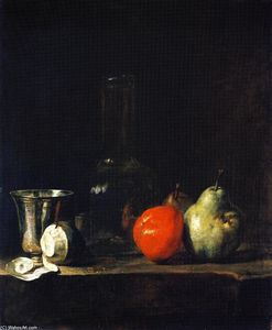 Jean-Baptiste Simeon Chardin - Carafe of Water, Silver Goblet, Peeled Lemon, Apple and Pears