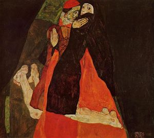 Egon Schiele - Cardinal and Nun (also known as Caress)