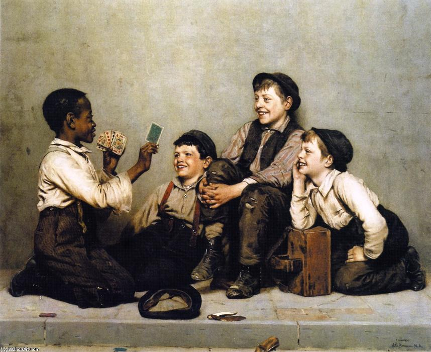 A Card Trick, Oil On Canvas by John George Brown (1831-1913, United Kingdom)