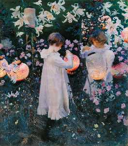 John Singer Sargent - Carnation, Lily, Lily, Rose - (Famous paintings reproduction)