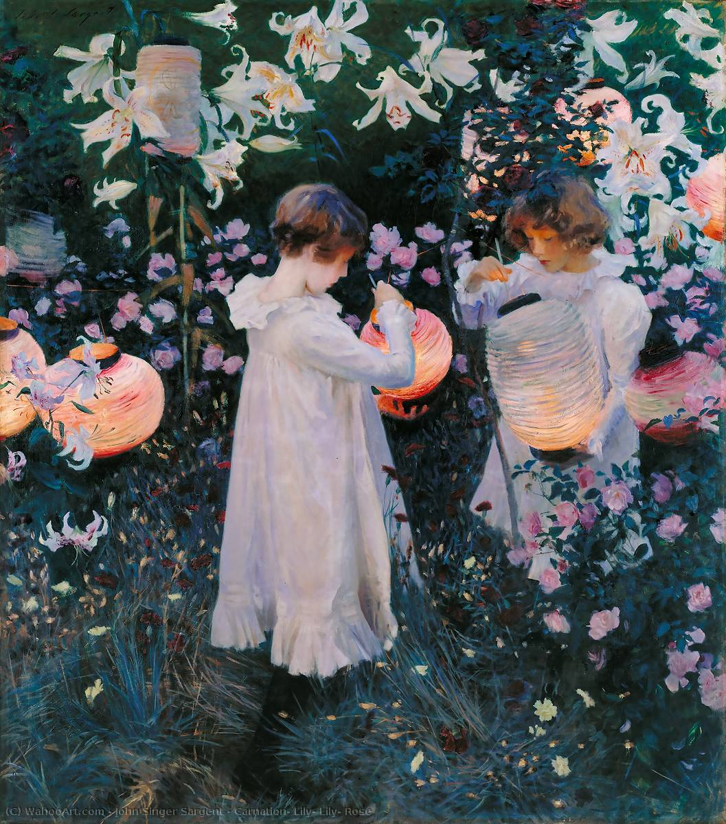 Carnation, Lily, Lily, Rose, 1885 by John Singer Sargent (1856-1925, Italy) | Paintings Reproductions John Singer Sargent | WahooArt.com