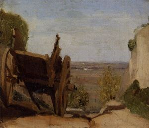 Order Paintings Reproductions | The Cart, 1850 by Jean Baptiste Camille Corot (1796-1875, France) | WahooArt.com