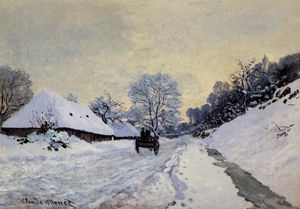 Claude Monet - A Cart on the Snow Covered Road with Saint-Simeon Farm