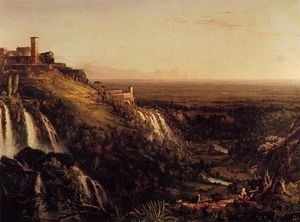 Thomas Cole - The Cascatelli, Tivoli, Looking Towards Rome (also known as view of rome frm tivoli)