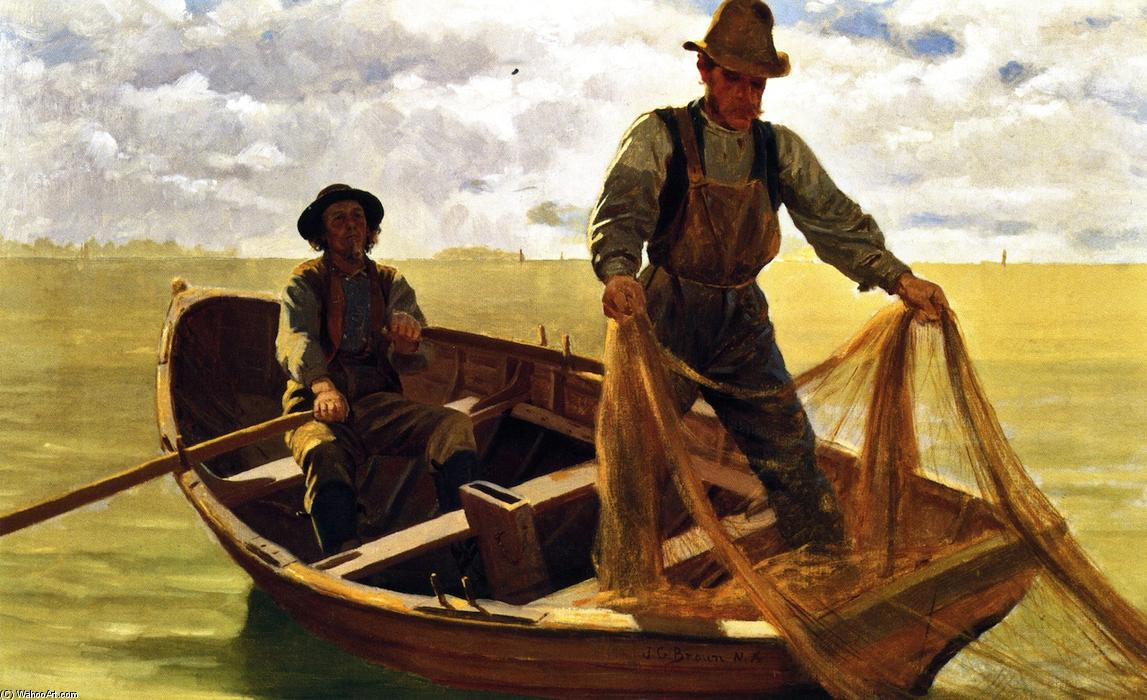 Casting the Net, Oil On Canvas by John George Brown (1831-1913, United Kingdom)