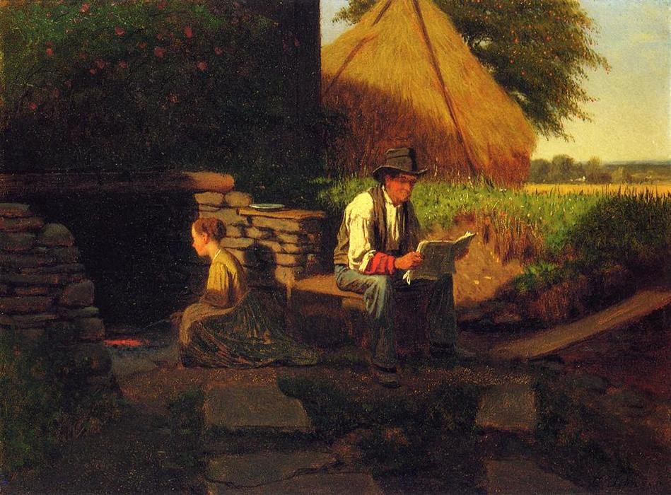 Catching Up on the News, Oil On Panel by Jonathan Eastman Johnson (1824-1906, United Kingdom)