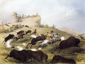 George Catlin - Catlin the Artist Shooting Buffaloes with Colt's Revolving Pistol