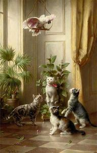 Carl Reichert - Cats and the cockatoo