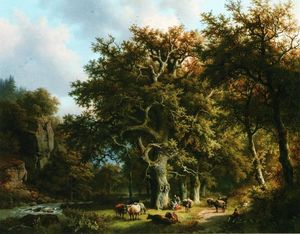 Barend Cornelis Koekkoek - Cattle by a Stream