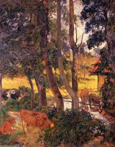 Paul Gauguin - Cattle Drinking (also known as Edge of the Pond or Cows at the Watering Place)