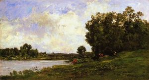 Charles François Daubigny - Cattle on the Bank of the River
