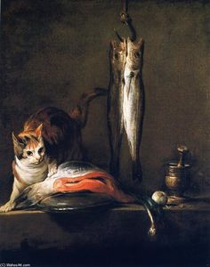 Jean-Baptiste Simeon Chardin - Cat with Salmon, Two Mackerel, Pestle and Mortar