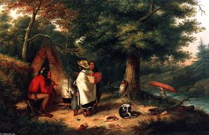 Cornelius David Krieghoff - Caughnawaga Indian Encampment at a Portage