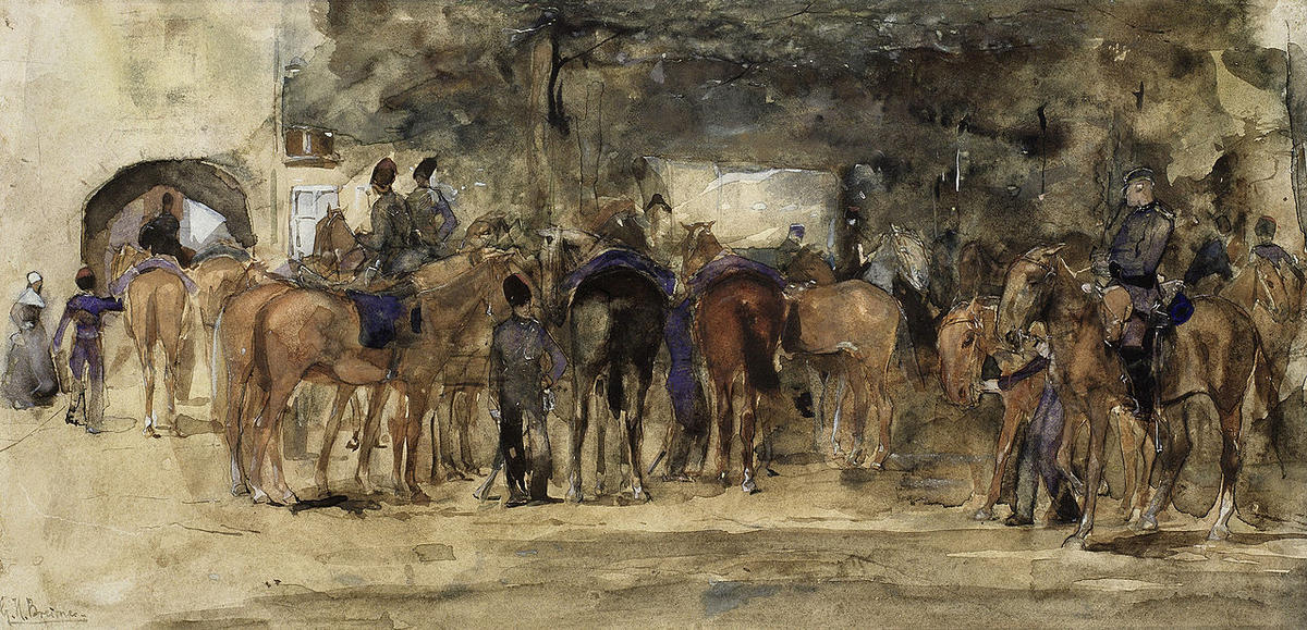 Cavalry Resting on a Square by George Hendrik Breitner (1857-1923, Netherlands) | Painting Copy | WahooArt.com