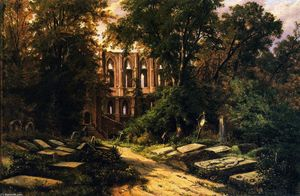 Herman Lungkwitz - Cemetery by a Ruined Gothic Church