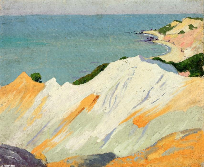 Chalk Hills, Gay Head, 1915 by Arthur Wesley Dow (1857-1922, United Kingdom) | Famous Paintings Reproductions | WahooArt.com