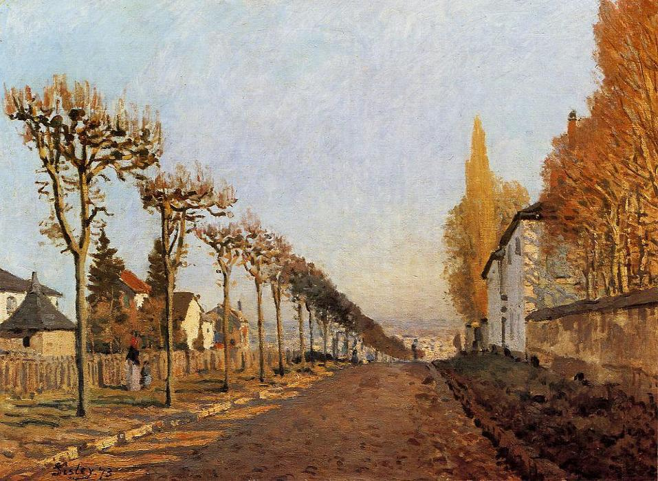 Chemin de la Machine, Louveciennes (also known as Rue de la Machine, Louveciennes), Oil On Canvas by Alfred Sisley (1839-1899, France)