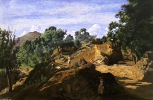Jean Baptiste Camille Corot - A Chestnut Wood among the Rocks