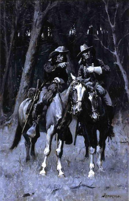 Cheyenne Scouts Patrolling the Big Timber of the North Canadian, Oklahoma, Oil On Panel by Frederic Remington (1861-1909, United States)