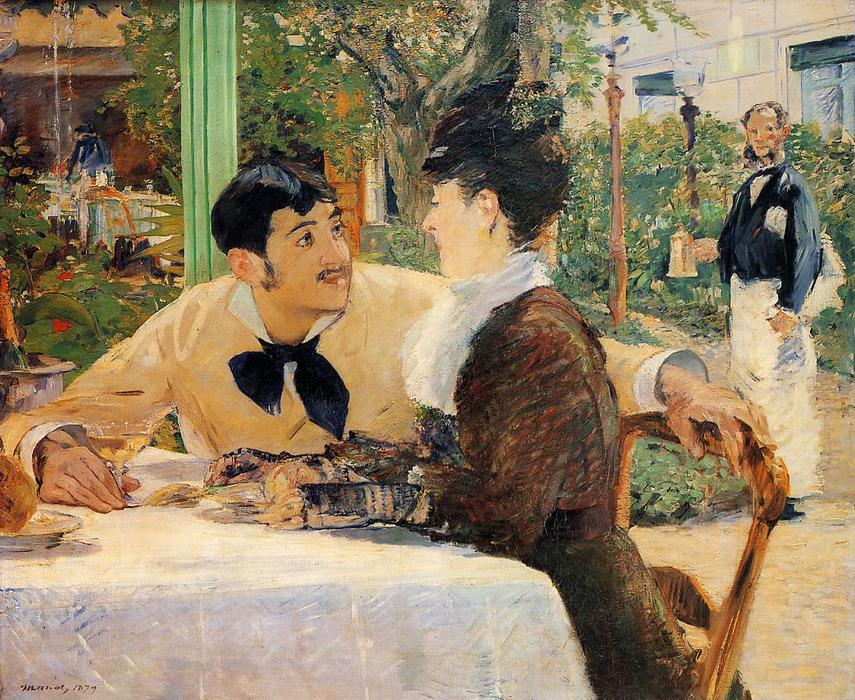 Chez le Pere Lathuille, Oil On Canvas by Edouard Manet (1832-1883, France)