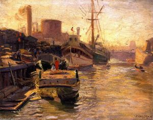 Joseph Kleitsch - Chicago River (also known as Dockside in Harbor)
