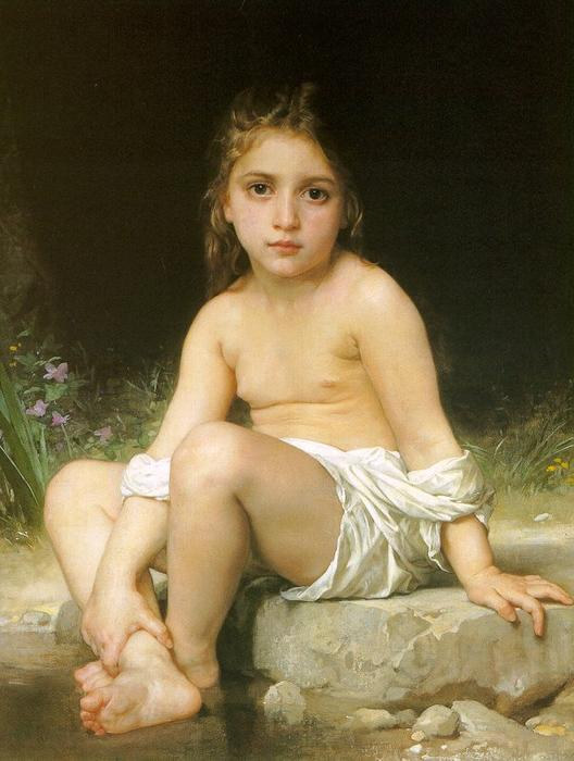 Child at Bath, Oil On Canvas by William Adolphe Bouguereau (1825-1905, France)