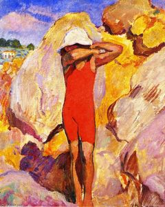 Henri Lebasque - Child in a Red Bathing Suit