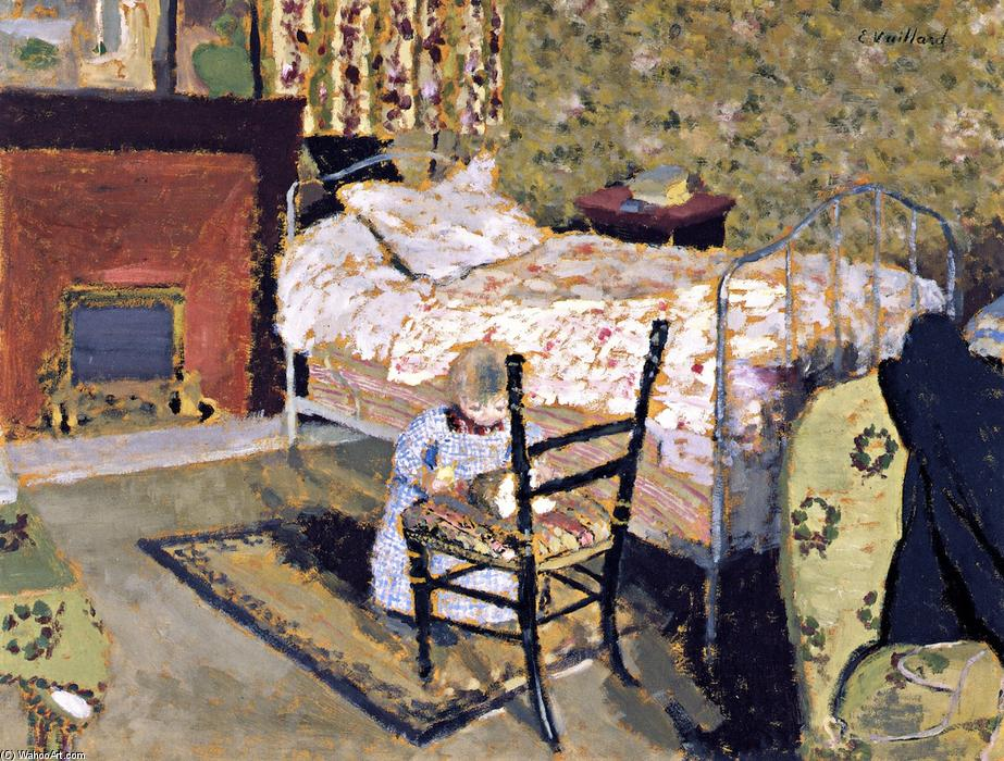 Child Playing: Annette in front of the Rail-Backed Chair, 1900 by Jean Edouard Vuillard (1868-1940, France) | Oil Painting | WahooArt.com