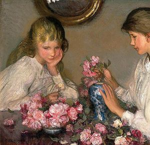George Clausen - Children and Roses